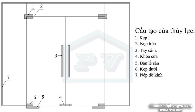 cửa kính thủy lực - cửa kính bản lề sàn