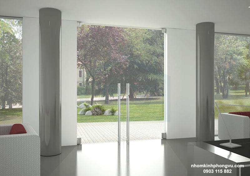 mẫu cửa kính cường lực bản lề sàn đẹp