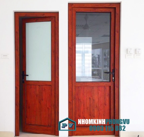 Mẫu cửa nhôm xingfa 1 cánh màu vân gỗ đẹp, sang trọng