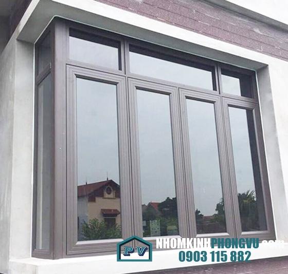 Mẫu cửa sổ nhôm xingfa 4 cánh màu đen an toàn, độ bền cao