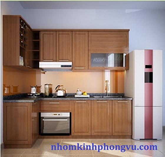 Tủ bếp nhôm kính vân gỗ TBNK02