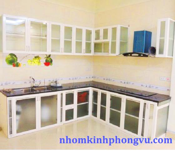 Tủ bếp nhôm kính trắng TBNK08
