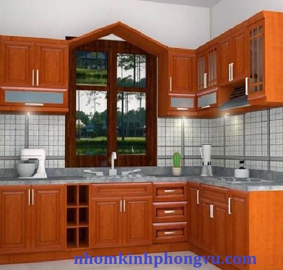 Tủ bếp nhôm kính giả gỗ TBNK04